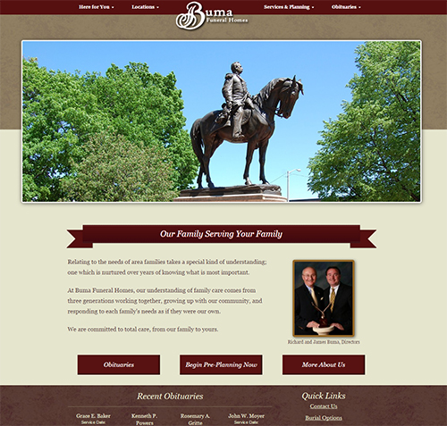 home web design. Buma Funeral Homes FuneralNet  Custom Home Website Design
