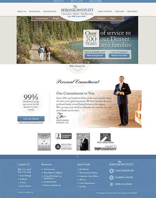 home web design. Horan  McConaty FuneralNet Custom Funeral Home Website Design
