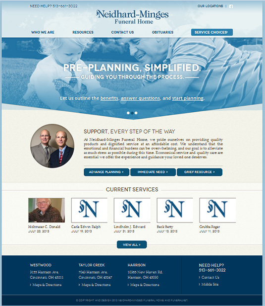 home web design. Neidhard Minges Funeral Home FuneralNet  Custom Website Design